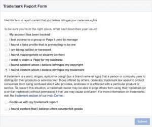 Facebook Trademark Report Form