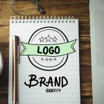 Top view working tools logo brand identity photo