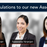 Congratulations to our new Associates: Naleesha, Joanne and Isabelle!